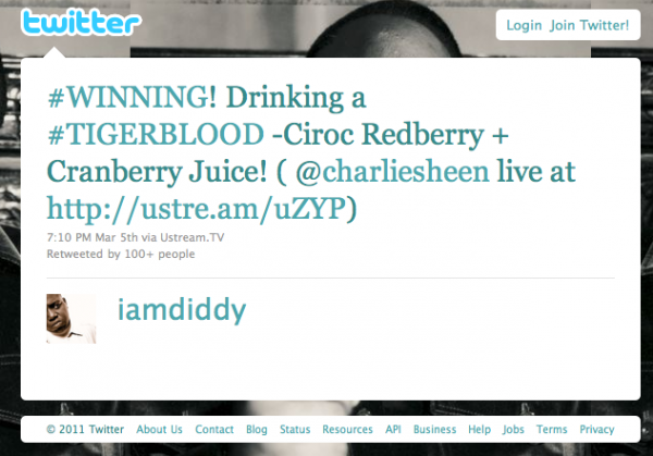 Diddy tweeting tigerblood drink